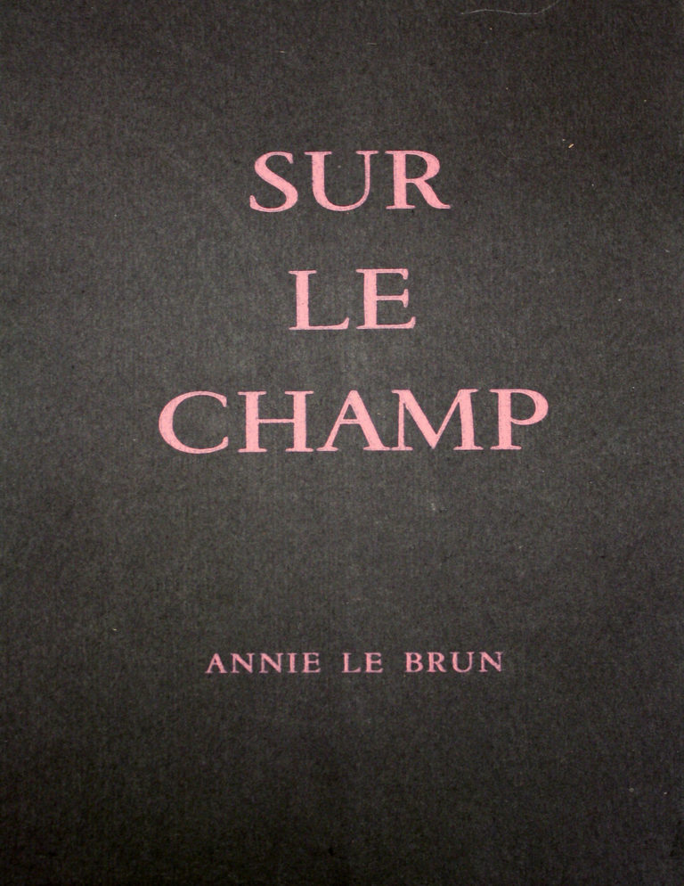 Le Brun, Annie, Sur le champ