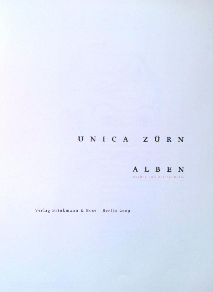 Zürn, Unica, Alben : Bücher und Zeichenhefte